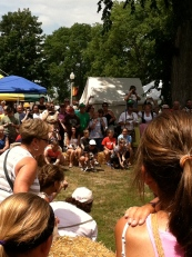 The wiener dog race drew quite a crowd.