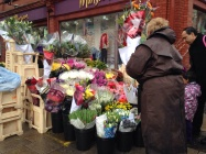 Beautiful flower vendors on the street.