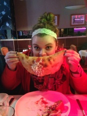 A calzone as big as her face!