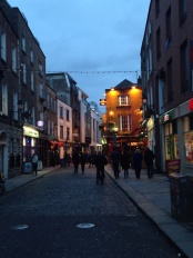 Temple Bar. The district in which we ate dinner and were serenaded by live music.